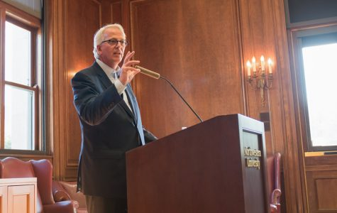 "Ivo Daalder, former U.S. ambassador to NATO, addresses the audience during his talk ""Donald Trump and the End of the Liberal World Order."" He discussed how Trump's election may cause the international order to shift to a multilateral balance of power."