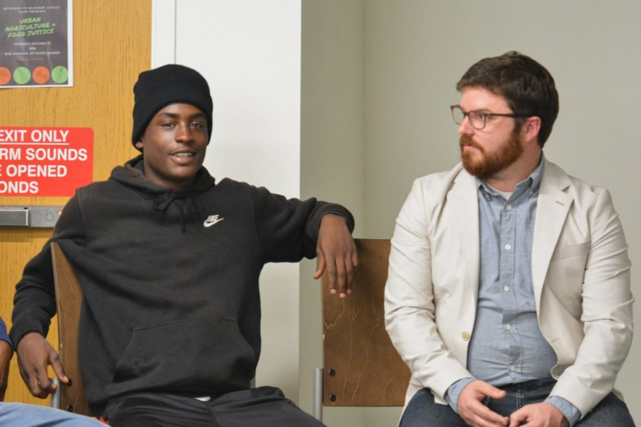 Jatwaun Smith and Peter Hoy speak at a Justice Talk on urban agriculture and food justice. Smith and Hoy discussed their work with Chicago organization A Just Harvest, one of the partners of the University's new Neighbor2Neighbor program.