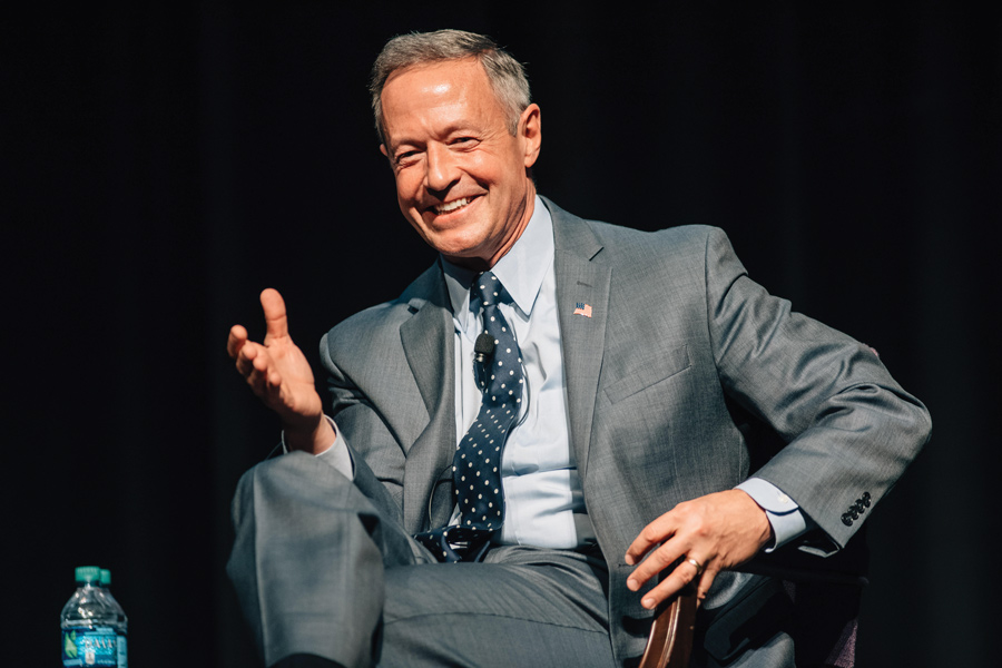 Former presidential candidate Martin O'Malley speaks to students about Donald Trump's presidency and political engagement in Cahn Auditorium on Monday. The event was hosted by College Democrats.