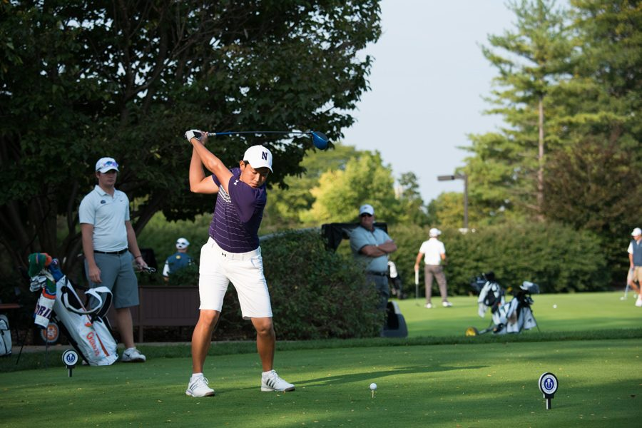 Dylan+Wu+tees+off.+The+senior+led+the+Wildcats+to+a+win+at+the+UNCG%2FGrandover+collegiate.