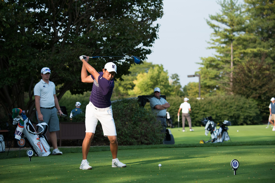 Dylan Wu tees off. The senior led the Wildcats to a win at the UNCG/Grandover collegiate.