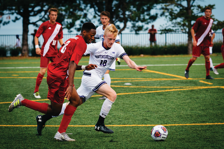 Sean Lynch races after the ball. The sophomore midfielder and the Wildcats will battle Western Illinois on Monday.