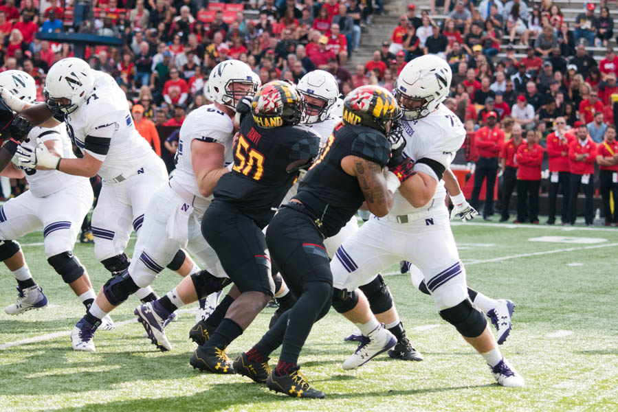 Northwestern's offensive line blocks. The Wildcats' front allowed just one sack of junior quarterback Clayton Thorson against Maryland.