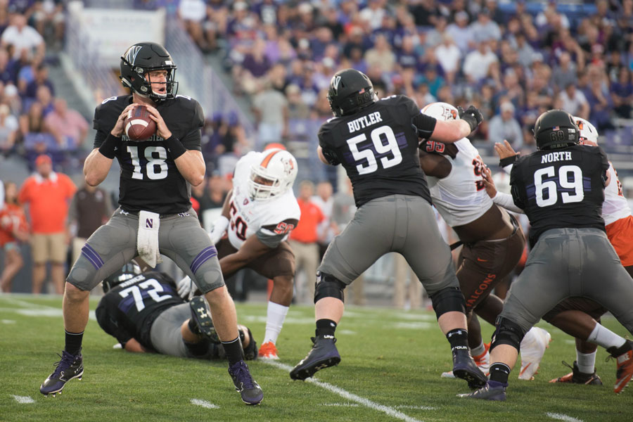 Northwestern%E2%80%99s+offensive+line+blocks.+The+Wildcats%E2%80%99+front+struggled+against+No.+9+Wisconsin+last+week.+