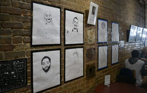 Students draw portraits and write about their experiences with racism. The works were displayed at Curt's Cafe North, 2922 Central St.