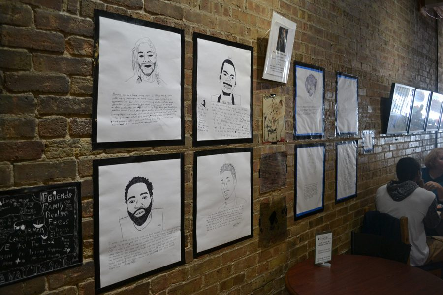 Students+draw+portraits+and+write+about+their+experiences+with+racism.+The+works+were+displayed+at+Curt%E2%80%99s+Cafe+North%2C+2922+Central+St.