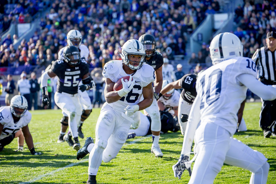 Penn+State%E2%80%99s+Saquon+Barkley+runs+against+Northwestern+in+2015.+The+Heisman+contender+leads+a+potent+Nittany+Lions+offense+into+Evanston.+