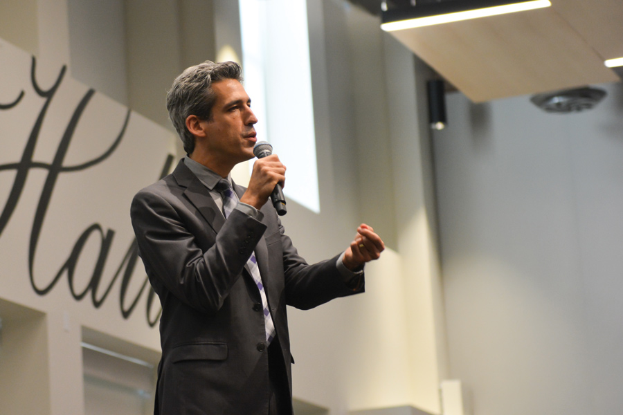 State Sen. Daniel Biss (D-Evanston) speaks at a panel Sunday. Biss and six other Democratic gubernatorial candidates advocated for free college tuition and a single-payer health care system.
