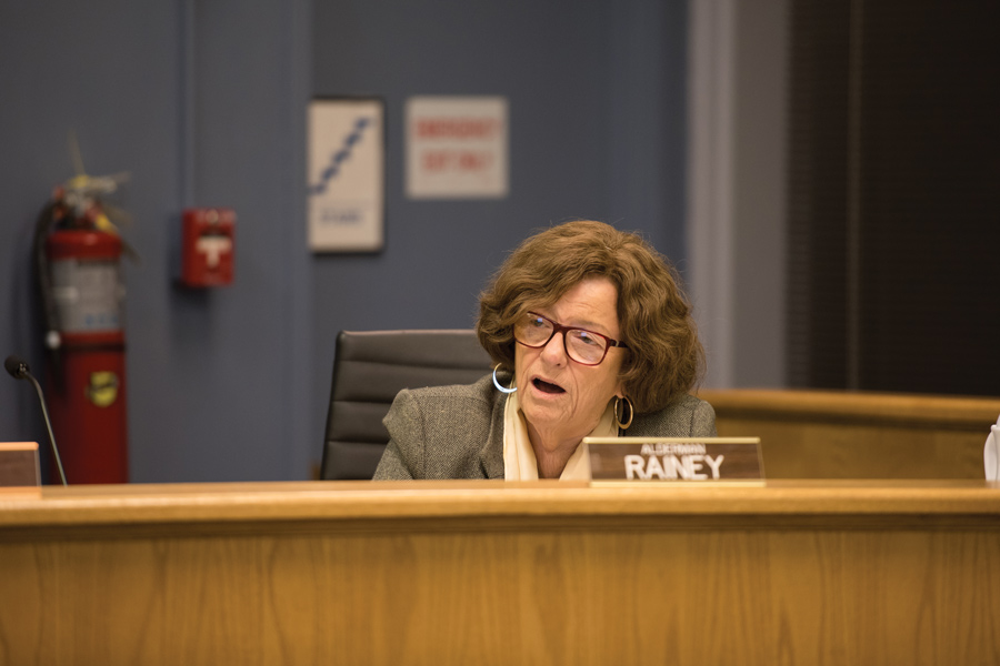 Ald. Ann Rainey (8th) at City Council on Monday. Rainey has been a driving force in the redevelopment on Howard Street.