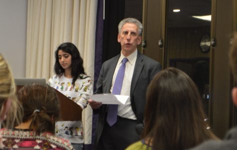 Former provost Dan Linzer speaks at an Associated Student Government Senate in 2016. The Provost Awards and Grants for Faculty Diversity and Equity have been renamed to honor Linzer.