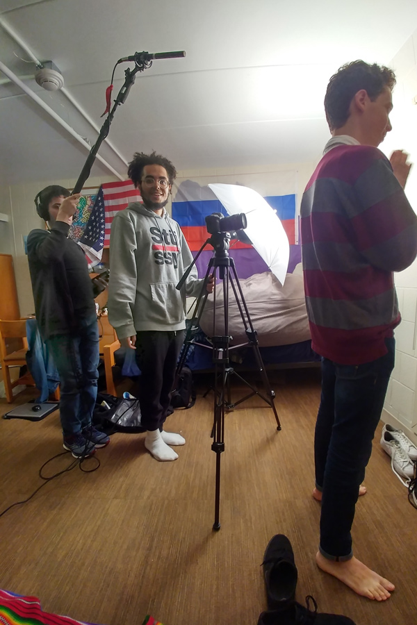 "Students film the pilot of ""Putin Jr.,"" a new NU Channel 1 web series. The show follows Ivan, Putin's fictional son, as he traverses the social complexities of college and tries to keep his lineage a secret from friends."