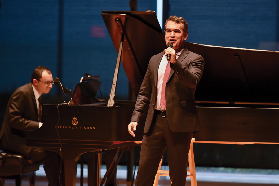Brian d'Arcy James (Communication '90) performs at a celebration concert for Evanston nonprofit Over the Rainbow. Before the performance, the organization honored several people who assisted OTR, which provides accessible housing to people with physical disabilities.