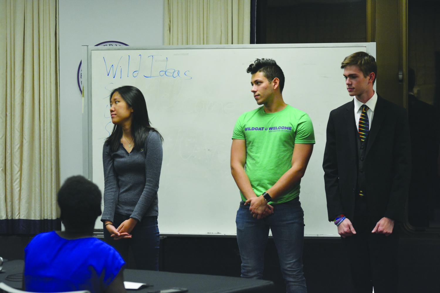 Leo Scheck (center) looks on during Associated Student Government Senate. The Communication sophomore was elected to the Wild Ideas committee at Wednesday's Senate.