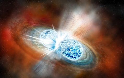 An artist's rendition of the collision and explosion of two neutron stars. Four Northwestern astronomers are members of the LIGO Scientific Collaboration, which discovered the collision on Aug. 17.