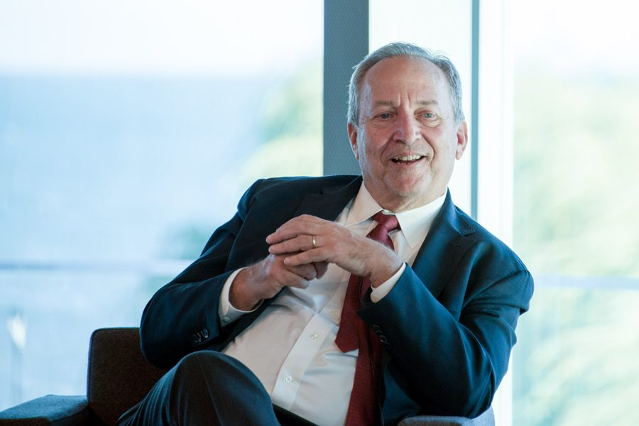 Former Secretary of the Treasury Lawrence Summers speaks at the Kellogg School of Management Global Hub at an event Wednesday. Summers discussed his career in macroeconomic analysis and advising.