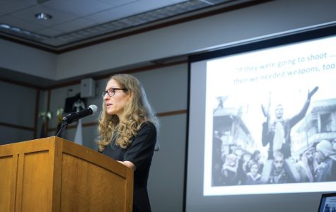 Political science Prof. Wendy Pearlman speaks about her book at the Evanston Public Library on Monday. Pearlman interviewed more than 300 Syrian refugees for the book.