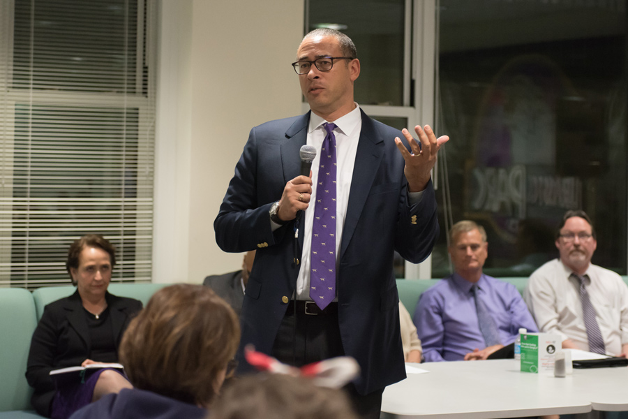 "Provost Jonathan Holloway speaks at a community dialogue on Oct. 9. Holloway, who previously served as the dean of Yale College, told The Daily in an interview that he had the ""Morty effect"" at Yale."