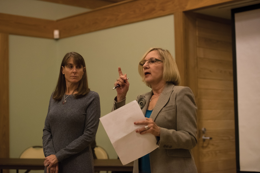 State Reps. Robyn Gabel (D-Evanston) and Laura Fine (D-Glenview) discuss climate change and clean energy. About 60 constituents joined the representatives Monday at a town hall.