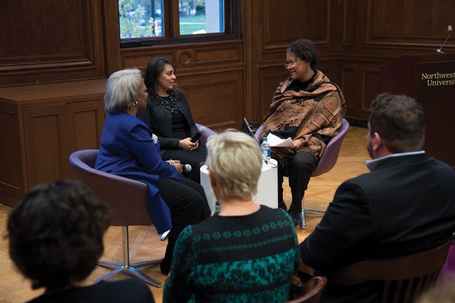 Emory Prof. Carol Anderson and NU Profs. Natasha Trethewey and Leslie Harris speak at a Monday event in Harris Hall. The talk  focused on the importance of finding truths not normally discussed in traditional history narratives.