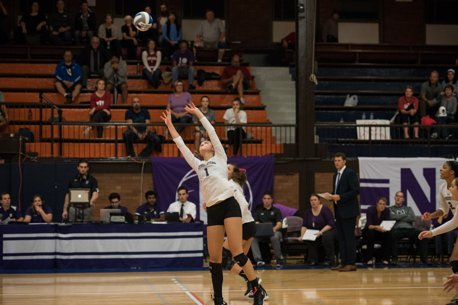 Taylor Tashima sets the ball. The senior setter and the Wildcats will face Maryland and Ohio state over the weekend.