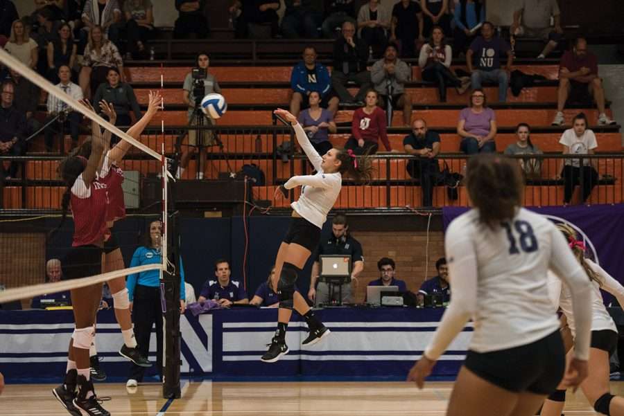 Gabrielle+Hazen+goes+up+for+a+kill.+The+senior+middle+blocker+and+the+Wildcats+lost+two+matches+over+the+weekend.