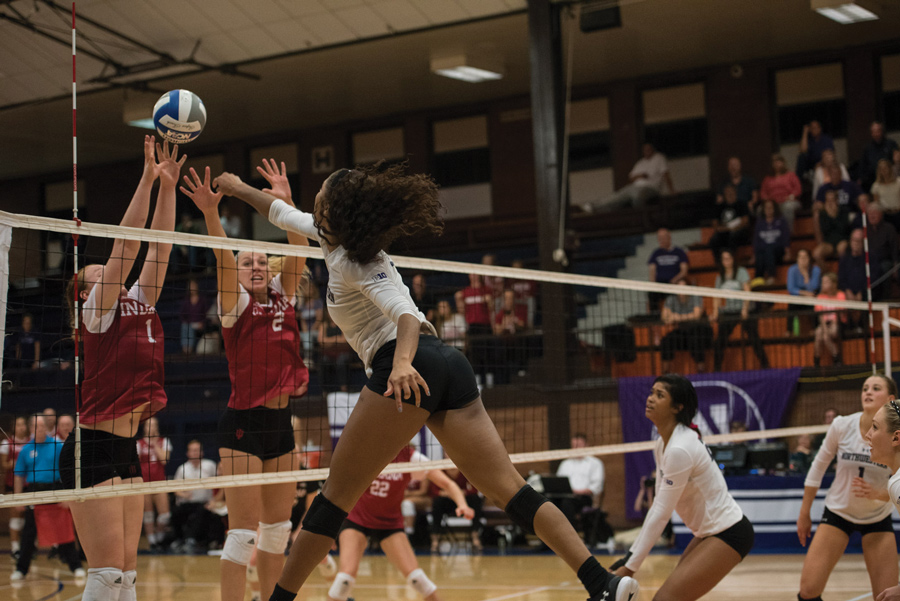 Nia Robinson strikes a spike. The freshman lead the team with 24 kills against Rutgers on Wednesday.