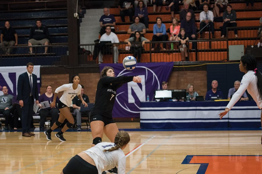 Lexi+Pitsas+digs+a+ball.+The+freshman+libero+and+the+Wildcats+fell+at+Wisconsin+in+straight+sets+on+Saturday.+