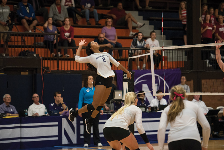 Symone Abbott goes up for a kill. The senior outside hitter had a career-high 29 kills in Friday's win over Indiana.