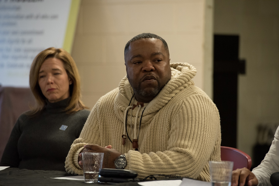 Chicago community organizer Deon Patrick at a Saturday panel on gun violence. The event was sponsored by Action for a Better Tomorrow's Evanston chapter and Dear Evanston, a Facebook group that examines race, inequality and youth gun violence.