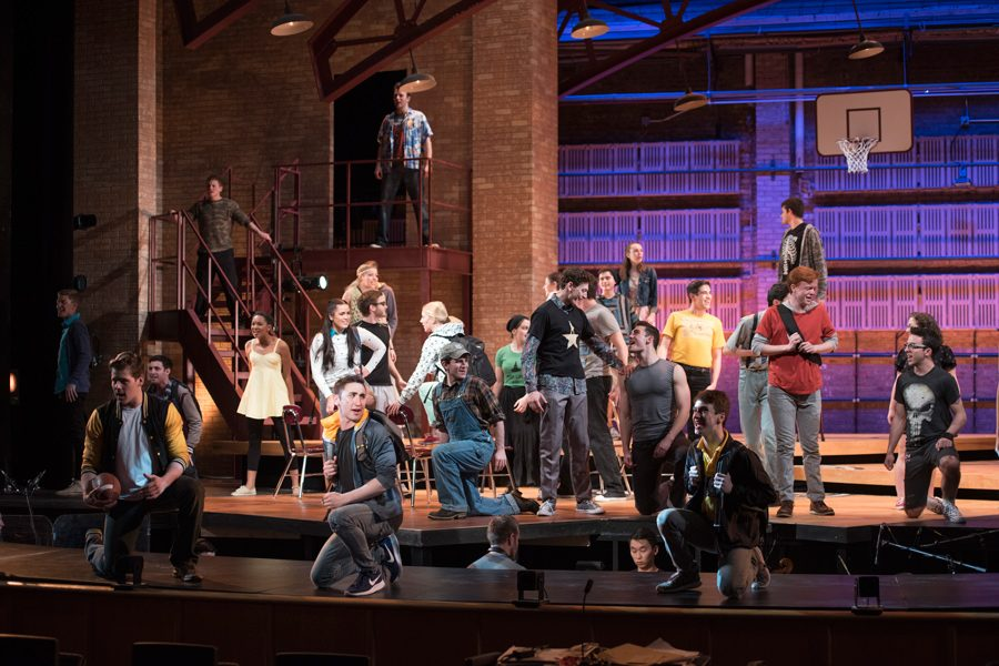 """Students perform at the 86th Waa-Mu Show, """"Beyond Belief: A Superhero Story."""" The Waa-Mu Show is restructuring its creative process, adding a Fall Quarter writing class."""