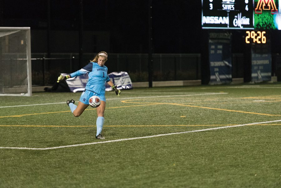 Lauren+Clem+punts+the+ball.+The+senior+made+five+saves+to+record+her+fourth+straight+clean+sheet+and+extend+her+shutout+streak+to+381+minutes.