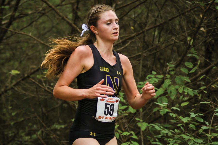 Sarah+Nicholson+runs.+The+sophomore+and+the+Wildcats+placed+8th+at+Big+Ten+Championships+on+Sunday.+%0A