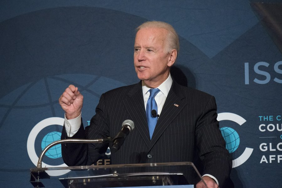 Joe+Biden+speaks+in+Chicago+in+2017.+Biden+is+set+to+speak+on+campus+on+Friday.