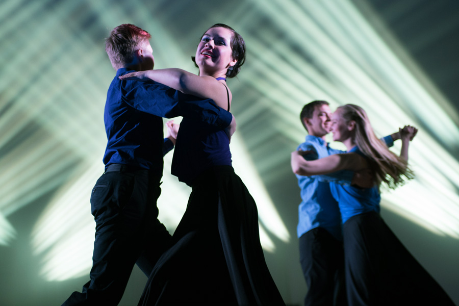 Ballroom Latin and Swing Team members dance in the group's spring 2016 show. This year, BLAST is adding a fall show that will combine social media and dance.