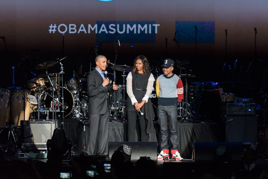 Barack+Obama%2C+Michelle+Obama+and+Chance+the+Rapper+appear+at+the+Obama+Foundation+Summit.+The+summit+was+held+in+Chicago+to+gather+young+civic+leaders+around+the+world.+%0A