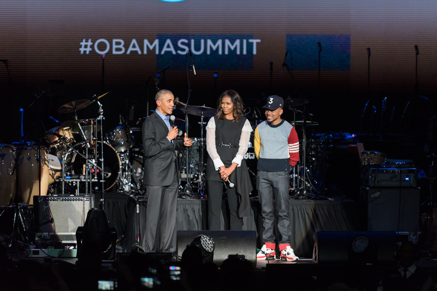 Barack Obama, Michelle Obama and Chance the Rapper appear at the Obama Foundation Summit. The summit was held in Chicago to gather young civic leaders around the world.