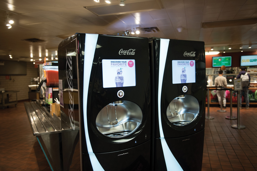 A Coca-Cola Freestyle machine in Norris University Center, where NU Dining's 'Cats Cups program is available. The program aims to reduce the amount of waste from disposable cups and glasses.