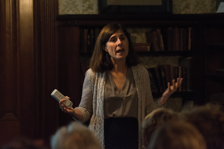 Author Joan Marie Johnson discusses her new book on women funding women's rights movements at the Frances Willard House Museum Saturday. Johnson discussed the need for more inclusivity in the movements going forward.