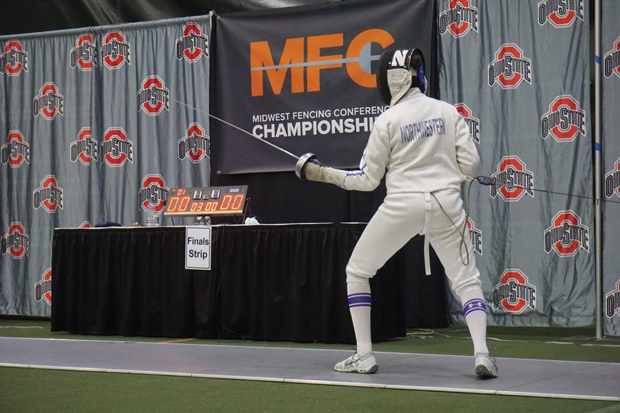 A+Northwestern+fencer+steps+onto+the+piste.+The+Wildcats+competed+at+the+Ohio+State+Elite+Invitational+over+the+weekend.%0A