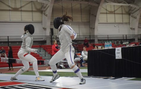 A Northwestern fencer dodges an attack. The Wildcats finished 8-0 at the Vassar Invitational last weekend.