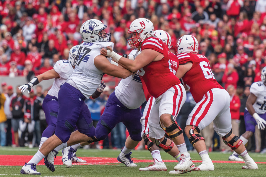 Joe Gaziano engages an offensive lineman. The sophomore defensive end has six sacks this season.
