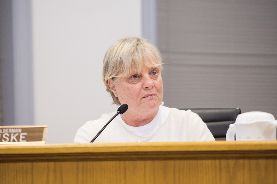 Ald. Judy Fiske (1st) at Monday's City Council meeting. Aldermen authorized the city to draft a contract for the renovation and lease of the Harley Clarke mansion.