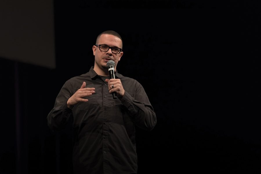 Shaun King speaks at The State of the Black Union event on Thursday in Cahn Auditorium. King discussed police brutality and Donald Trump's rise to power on the back of white supremacy.