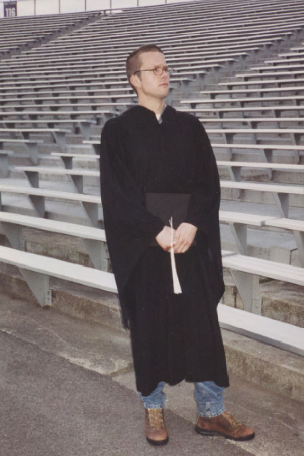 Chris Kirkpatrick poses at his graduation from NU in 1999, where he earned a degree in clinical psychology. The U.S Senate passed a bill in his name last month, after he was ousted from his job at a Veterans Affairs hospital in 2009 for whistleblowing and died by suicide.