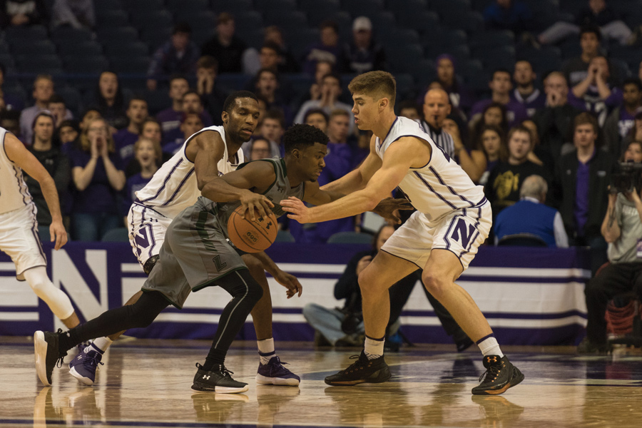 Gavin Skelly defends on the perimeter. The senior forward will play a key role in defending Creighton's pace and space attack.