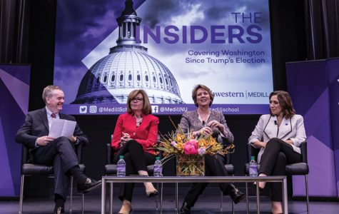 Susan Page (second from the left) on a panel at Medill in 2017. The NU alumna will moderate the vice presidential debate on Oct. 7.