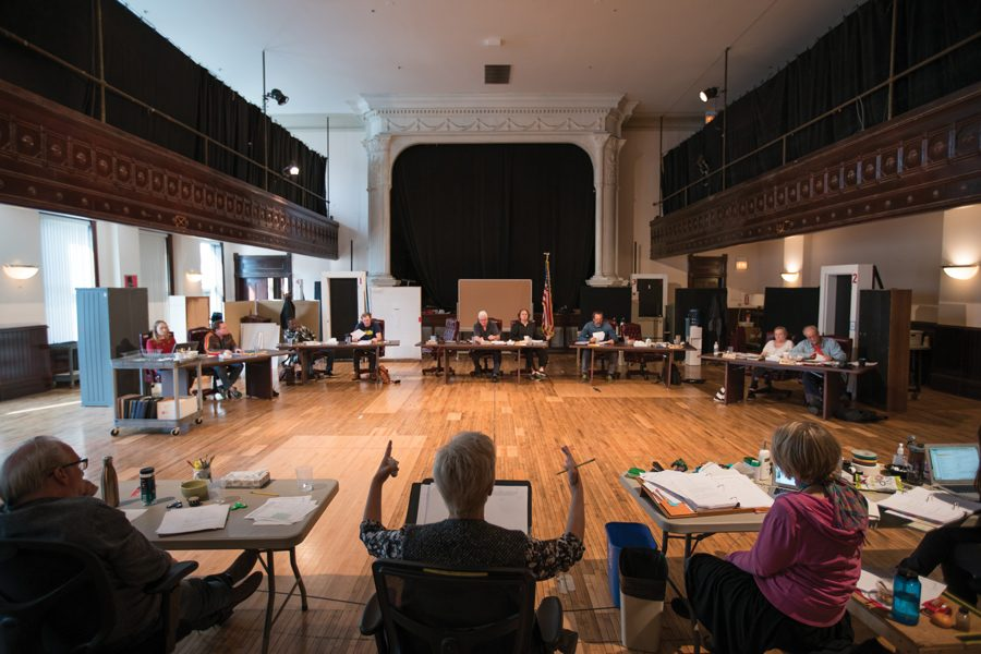 "Actors rehearse ""The Minutes,"" a collaboration between Pulitzer Prize-winning playwright Tracy Letts and Communication Prof. Anna D. Shapiro, the show's director. The production began previews Nov. 9 at Steppenwolf's Downstairs Theatre."