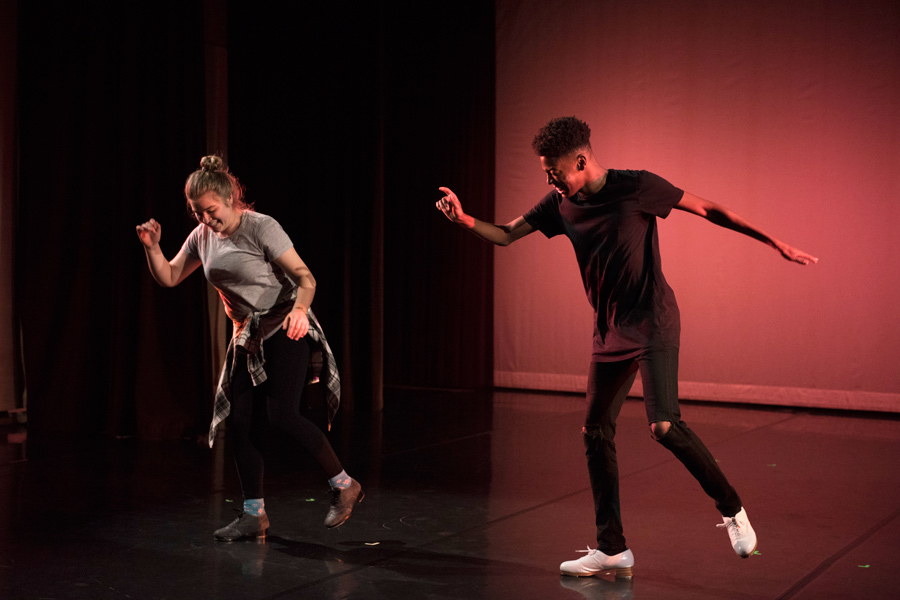 "Medill junior Cassie Majewski and Weinberg senior Sterling Harris rehearse their tap duet for ""[Re]Act."" Fall Dance Concert that will premiere in the Virginia Wadsworth Wirtz Center for the Performing Arts Nov. 9."
