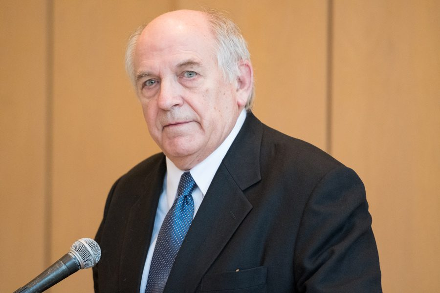Charles Murray speaks Wednesday at Parkes Hall. His talk, hosted by College Republicans, focused on the white working class.