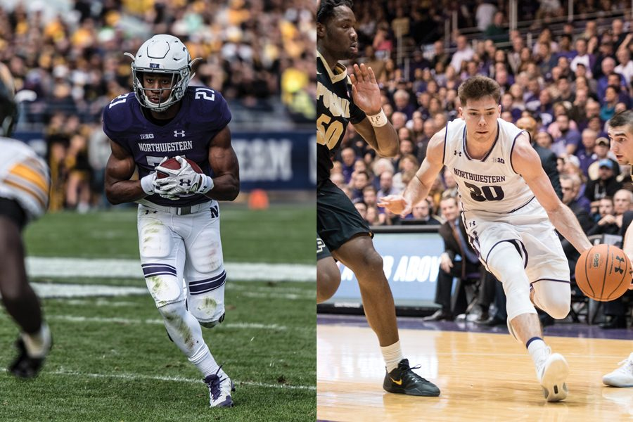 Justin+Jackson+%28left%29+carries+the+ball%2C+while+Bryant+McIntosh+drives+to+the+basket.+The+seniors+have+each+had+illustrious+careers+for+Northwestern.%0A